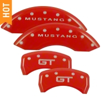 MGP Red Caliper Covers w/ GT Logo - Front & Rear (05-10 GT, V6) - MGP 10197-S-MGT-RD