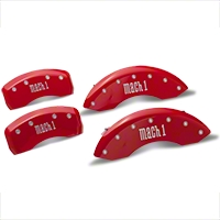MGP Red Caliper Covers w/ Mach 1 Logo - Front & Rear (03-04 Mach 1) - MGP 10017-S-MCH-RD
