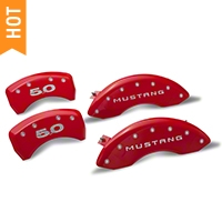 MGP Red Caliper Covers w/ 5.0 Logo - Front & Rear (11-14 GT, V6) - MGP 10198-S-5.0-RD