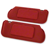 TMI Cloth Sun Visors w/ Mirrors- Coupe/Hatchback - Scarlet Red (85-93 All) - TMI 21-73005-1872