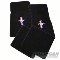 Black Floor Mats - Pony Logo (79-93 All) - AM Floor Mats 012321