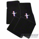 Black Floor Mats - Pony Logo (79-93 All) - AM Floor Mats 12321
