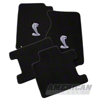Black Floor Mats - Convertible - Cobra Logo (94-98 All) - AM Floor Mats 012231