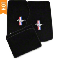 Black Floor Mats - Pony Logo (99-04 All) - AM Floor Mats 12121
