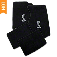 Black Floor Mats - Coupe - Cobra Logo (94-98 All) - AM Floor Mats 12131