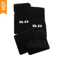 Black Floor Mats - 5.0 Logo (79-93 All) - AM Floor Mats 012381