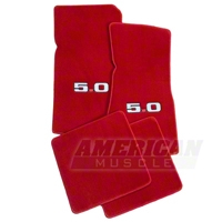 Red Floor Mats - 5.0 Logo (79-93 All) - AM Floor Mats 12387