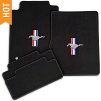 Black Floor Mats - Pony Logo (05-10 All) - AM Floor Mats 12021
