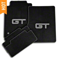 Dark Charcoal Floor Mats - Silver & Black GT Logo (05-10 All) - AM Floor Mats 12051