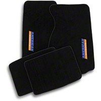 Black Floor Mats - AmericanMuscle Logo (94-04 All) - AM Floor Mats 93135