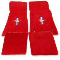 Red Floor Mats - Pony Logo (79-93 All) - AM Floor Mats 012327