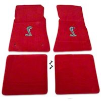 Red Floor Mats - Cobra Logo (79-93 All) - AM Floor Mats 12337