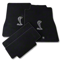 Black Floor Mats - Cobra Logo (13-14 All) - AM Interior 93170