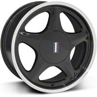 Black Pony Wheel w/Machined Lip - 5 Lug - 17x8 (87-93; Excludes 93 Cobra) - AmericanMuscle Wheels 99213
