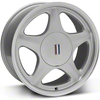 Silver Pony Wheel w/Machined Lip - 5 Lug - 17x8 (87-93; Excludes 93 Cobra) - AmericanMuscle Wheels 99214