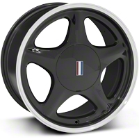 Black Pony Wheel w/Machined Lip - 5 Lug - 17x9 (87-93; Excludes 93 Cobra) - AmericanMuscle Wheels 99216