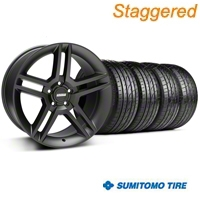 Staggered 2010 GT500 Matte Black Wheel & Sumitomo Tire Kit - 19x8.5/10 (05-14 All) - American Muscle Wheels 63036||63037||99270||99271||KIT