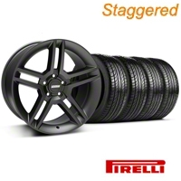 Staggered 2010 GT500 Matte Black Wheel & Pirelli Tire Kit - 19x8.5/10 (05-14 All) - American Muscle Wheels 63101||63102||99270||99271||KIT