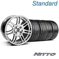 Chrome 10th Anniversary Style Wheel & NITTO Tire Kit - 17x9 (87-93; Excludes 93 Cobra) - AmericanMuscle Wheels KIT||32018||76004