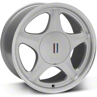 Silver Pony Wheel w/Machined Lip - 5 Lug - 17x9 (87-93; Excludes 93 Cobra) - AmericanMuscle Wheels 99263
