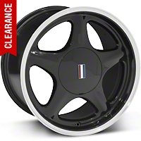 Black Pony Wheel w/Machined Lip - 5 Lug - 17x10 (87-93; Excludes 93 Cobra) - AmericanMuscle Wheels 99265