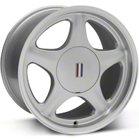 Silver Pony Wheel w/Machined Lip - 5 Lug - 17x10 (87-93; Excludes 93 Cobra) - AmericanMuscle Wheels 99266
