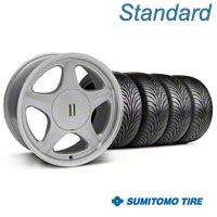 Silver w/Machined Lip Pony Style Wheel & Sumitomo Tire - 5 Lug Kit - 17x8 (87-93; Excludes 93 Cobra)