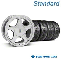 Chrome Pony Style Wheel & Sumitomo Tire - 5 Lug Kit - 17x8 (87-93; Excludes 93 Cobra) - AmericanMuscle Wheels KIT||99215||63010