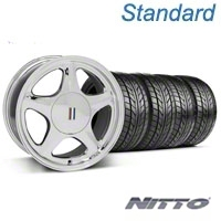Chrome Pony Style Wheel & NITTO Tire - 5 Lug Kit - 17x9 (87-93; Excludes 93 Cobra) - AmericanMuscle Wheels KIT||99264||76004