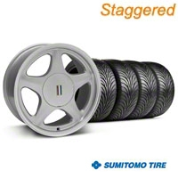 Staggered Silver w/Machined Lip Pony Style Wheel & Sumitomo Tire - 5 Lug Kit - 17x8/10 (87-93; Excludes 93 Cobra)