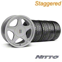 Staggered Silver w/Machined Lip Pony Style Wheel & NITTO Tire - 5 Lug Kit - 17x8/10 (87-93; Excludes 93 Cobra)