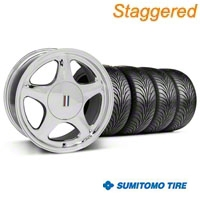 Staggered Chrome Pony Style Wheel & Sumitomo Tire - 5 Lug Kit - 17x8/10 (87-93; Excludes 93 Cobra)