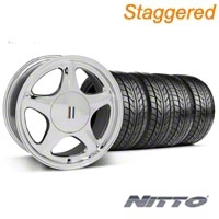 Staggered Chrome Pony Style Wheel & NITTO Tire - 5 Lug Kit - 17x8/10 (87-93; Excludes 93 Cobra)