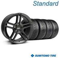 Matte Black 2010 Style GT500 Wheel & Sumitomo Tire Kit - 18x9 (05-14 All) - AmericanMuscle Wheels KIT99268||63008