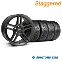 Staggered Matte Black 2010 Style GT500 Wheel & Sumitomo Tire Kit - 18x9/10 (05-14 All) - AmericanMuscle Wheels KIT99268||99269||63008||63009