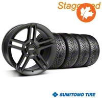 Staggered 2010 GT500 Matte Black Wheel & Sumitomo Tire Kit - 18x9/10 (05-14 All) - American Muscle Wheels KIT99268
