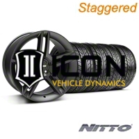 Staggered Matte Black 2010 Style GT500 Wheel & NITTO Tire Kit - 18x9/10 (05-14 All) - AmericanMuscle Wheels KIT99268||99269||76009||76010
