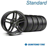 Matte Black 2010 Style GT500 Wheel & Sumitomo Tire Kit - 19x8.5 (94-04 All) - AmericanMuscle Wheels KIT99270||63035
