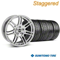 Staggered 10th Anniversary Cobra Style Chrome Wheel & Sumitomo Tire Kit - 18x9/10 (05-14 All) - American Muscle Wheels 28346||28349||KIT||63009||63008