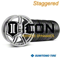 Staggered Chrome 10th Anniversary Style Wheel & Sumitomo Tire Kit - 18x9/10 (05-14 All) - AmericanMuscle Wheels KIT||28346||28349||63008||63009