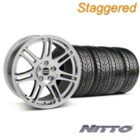 Staggered Chrome 10th Anniversary Style Wheel & NITTO Tire Kit - 18x9/10 (05-14 All) - AmericanMuscle Wheels KIT||28346||28349||76009||76010