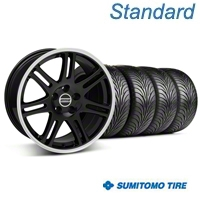 Black 10th Anniversary Style Wheel & Sumitomo Tire Kit - 18x9 (05-14 All) - AmericanMuscle Wheels KIT||29610||29611||76009||76010