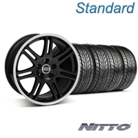 Black 10th Anniversary Style Wheel & Nitto Tire Kit - 18x9 (05-14 All) - AmericanMuscle Wheels KIT||29610||29611||63008||63009