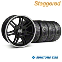 Staggered 10th Anniversary Cobra Black Wheel & Sumitomo Tire Kit - 18x9/10 (05-14 All) - American Muscle Wheels 28348||28351||63008||63009||KIT