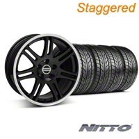Staggered Black 10th Anniversary Style Wheel & NITTO Tire Kit - 18x9/10 (05-14 All) - AmericanMuscle Wheels KIT||28348||28351||76009||76010