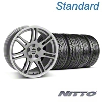 Anthracite 10th Anniversary Style Wheel & Nitto Tire Kit - 18x9 (05-14 All) - AmericanMuscle Wheels KIT||29606||29607||76009||76010
