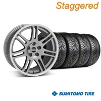 Staggered Anthracite 10th Anniversary Style Wheel & Sumitomo Tire Kit - 18x9/10 (94-98 All) - AmericanMuscle Wheels KIT||28347||28350||63005||63006