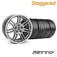 Staggered Anthracite 10th Anniversary Style Wheel & NITTO Tire Kit - 18x9/10 (94-98 All) - AmericanMuscle Wheels KIT||28347||28350||76002||76003