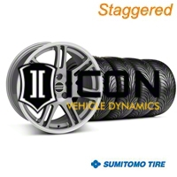 Staggered Anthracite 10th Anniversary Style Wheel & Sumitomo Tire Kit - 18x9/10 (05-14 All) - AmericanMuscle Wheels KIT||28347||28350||63008||63009