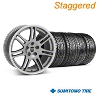 Staggered Anthracite 10th Anniversary Style Wheel & NITTO Tire Kit - 18x9/10 (05-14 All) - AmericanMuscle Wheels KIT||28347||28350||76009||76010